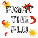 Fight the flu. Red arrows and words on white illustration Stock Photography