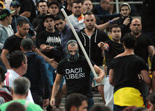 Fight between football supporters in Romania-Hungary Royalty Free Stock Image