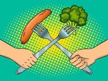 Fight on forks pop art vector illustration. Fight on forks kitchen utensils pop art retro vector illustration. Vegetarian and meat eater battle metaphor. Comic Royalty Free Stock Images