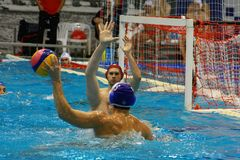 The fight at the gate in water Polo Stock Images