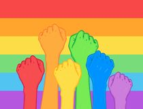 Fight for gay rights. Human hands (fists) raised up. Rainbow col. Or Vector illustration. Flag of LGBT community. Cartoon sticker with contour. greeting cards Royalty Free Stock Image
