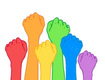 Fight for gay rights. Human hands (fists) raised up. Rainbow col. Or Vector illustration. Flag of LGBT community. Cartoon sticker with contour. greeting cards Royalty Free Stock Images