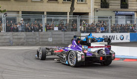 The Fight for Gold - Paris ePrix 2017. PARIS - 20 May 2017: Race detail with the Formula E cars which ranked the first two places in the Paris ePrix on the Royalty Free Stock Images