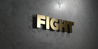 Fight - Gold sign mounted on glossy marble wall  - 3D rendered royalty free stock illustration. This image can be used for an online website banner ad or a Stock Photos