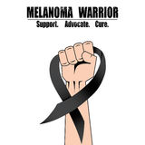 Fight hand fist against melanoma, black ribbon, skin cancer awareness symbol vector Stock Photos