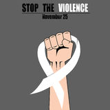 Fight hand fist against stop violence woman, white ribbon, awareness symbol vector Stock Photo