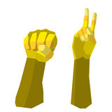 Fight hand. Polygon yellow Royalty Free Stock Photography