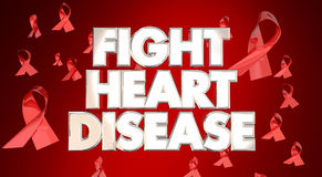 Fight Heart Disease Awareness Ribbons Campaign. Fight Heart Disease Awareness Ribbons Healthy Lifestyle Campaign Royalty Free Stock Images