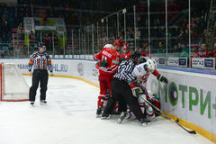 A fight at a hockey game Royalty Free Stock Photography