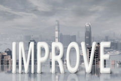 Fight for improve. Concept images with 3d text and asian business woman under sky stock image