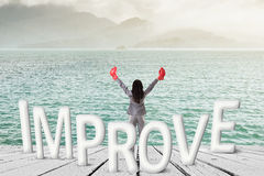 Fight for improve. Concept images with 3d text and asian business woman under sky Royalty Free Stock Photography