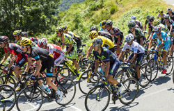 The Fight Inside the Peloton - Tour de France 2015. Col D'Aspin,France- July 15,2015: Froome of Team sky, in Yellow Jersey and his main rivals Quintana of Stock Photos