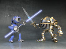 Fight the knight and robot Stock Image