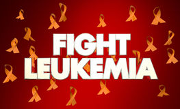 Fight Leukemia Cancer Disease Ribbons Words. 3d Illustration Royalty Free Stock Images