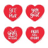 Fight Like A Girl, GRL PWR etc hand lettering set in heart shapes. Vector calligraphy of feminist movement for poster. Royalty Free Stock Photo
