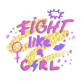 Fight like a girl. Hand drawn lettering with lipstick kiss, female gender sign mirror of Venus and stars on golden glitter paint b Royalty Free Stock Images