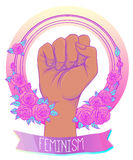 Fight like a girl. Woman's hand with crystal quartz brass knuckl. Es. Fist raised up. Girl Power. Feminism concept. Realistic vector illustration in pastel goth Royalty Free Stock Photo