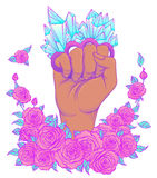Fight like a girl. Woman's hand with crystal quartz brass knuckl. Es. Fist raised up. Girl Power. Feminism concept. Realistic vector illustration in pastel goth Royalty Free Stock Image