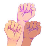 Fight like a girl. 3 Woman's hands with her fist raised up. Girl Stock Image