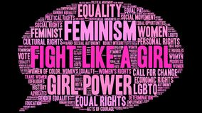 Fight Like a Girl Word Cloud. On a black background Royalty Free Stock Image
