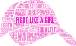 Fight Like a Girl Word Cloud. On a white background Stock Images
