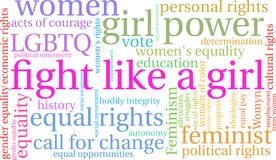 Fight Like a Girl Word Cloud. On a white background Royalty Free Stock Photography