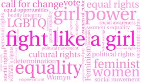 Fight Like a Girl Word Cloud. On a white background Royalty Free Stock Photos