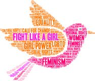 Fight Like a Girl Word Cloud. On a white background Stock Image