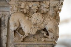 Fight Between Lion and Bull c12th Romanesque Carving Cloisters Montmajour Abbey near Arles Provence Royalty Free Stock Images