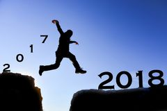 Fight for a lucky, healthy and sporty year. Run for a new year; a dynamic and energetic year Stock Photos