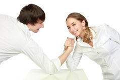 Fight of man and woman. Fight of stronger and fair sex. Man and woman on a white background stock photos