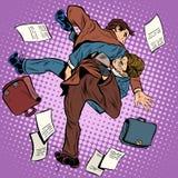Fight men businessmen. Pop art retro style. Combat Sambo. Business competition Stock Photo