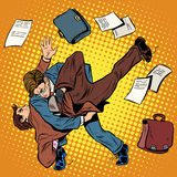 Fight men businessmen. Pop art retro style. Combat Sambo. Business competition royalty free illustration