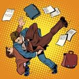 Fight men businessmen. Pop art retro style. Combat Sambo. Business competition Royalty Free Stock Image