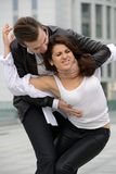 Fight between men and women. Emotional fight between men and women royalty free stock photo