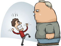 Fight Mismatch. A small, angry cartoon man threatens a calm, large man Stock Photo