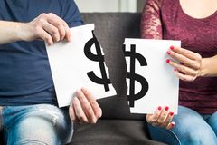 Fight about money or financial argument concept. stock photography