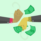 Fight money. There are two hands that are fighting over money Stock Photo