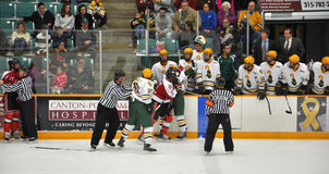 Fight in a NCAA Hockey Game Stock Photos