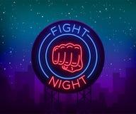 Fight neon sign, light night billboard, isolated vector illustration Neon banner, night-threatening promotional emblem.  Royalty Free Stock Photo
