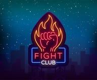 Fight neon sign, light night billboard,  vector illustration Neon banner, night-threatening promotional emblem.  Stock Photography