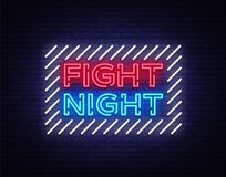 Fight night neon signboard. Bright night advertising, light banner, design neon sign template. Vector illustration.  Stock Photo