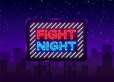 Fight night neon signboard. Bright night advertising, light banner, design neon sign template. Vector illustration. Billboard Royalty Free Stock Photo