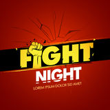 Fight night red version advertisement sport template. Modern professional fighting poster template logo design with fist. Isolated fight logotype  illustration Stock Image