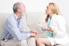 Fight between an older couple Royalty Free Stock Images