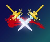 Fight opposition element with crossed swords. Shiny medieval weapon for computer game interface design. Confrontation versus sign, fantasy and epic battle Royalty Free Stock Photo