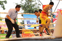 Fight for PABA Super Flyweight Champion. SURAT THANI, THAILAND - DECEMBER 14 : Norasing Kokietgym and Michael Escobia fight for PABA Super Flyweight Champion on royalty free stock images