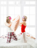 Fight on the pillows. Stock Image