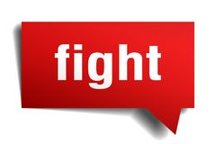 Fight red 3d speech bubble. Fight red 3d square isolated speech bubble Royalty Free Stock Photos