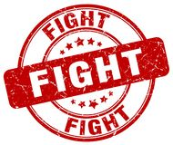 Fight red stamp. Fight red grunge round stamp isolated on white background Royalty Free Stock Images